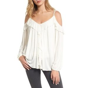 Bailey 44 ruffle fairy tale cold shoulder top